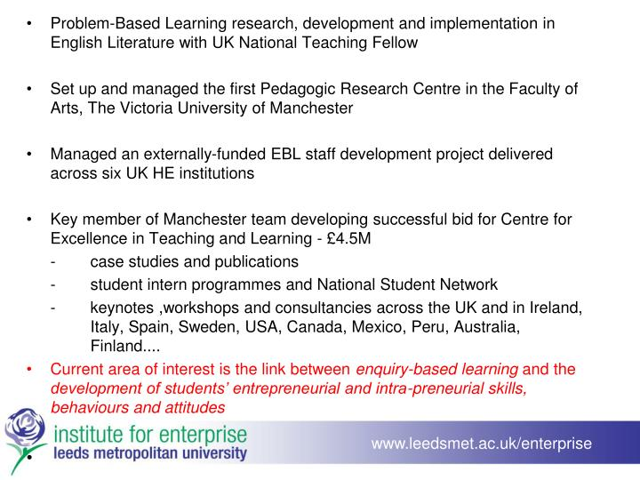 Problem-Based Learning research, development and implementation in English Literature with UK National Teaching Fellow