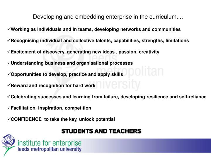 Developing and embedding enterprise in the curriculum....
