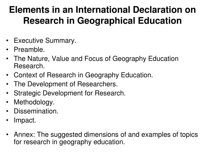 Research topics in geography education