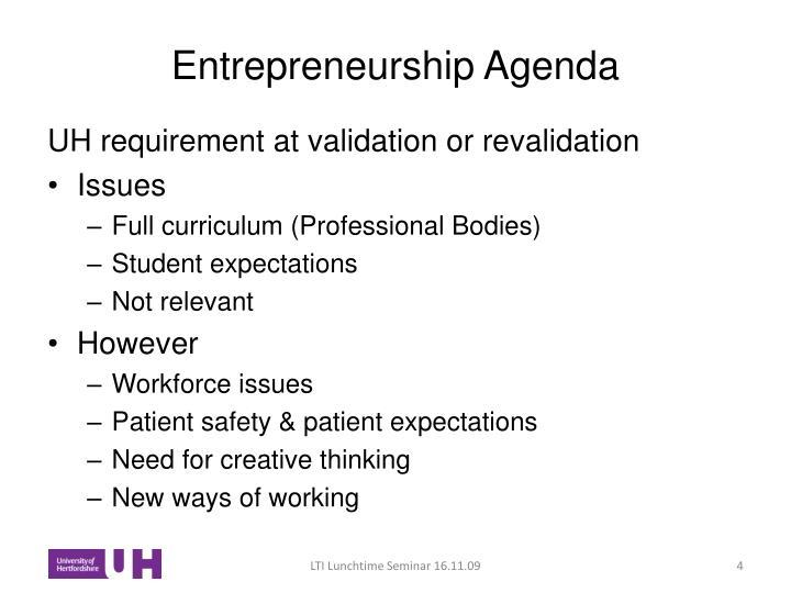 Entrepreneurship Agenda