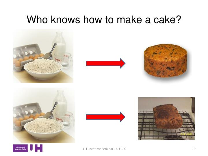 Who knows how to make a cake?