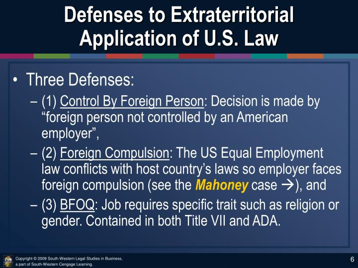 Defenses to Extraterritorial