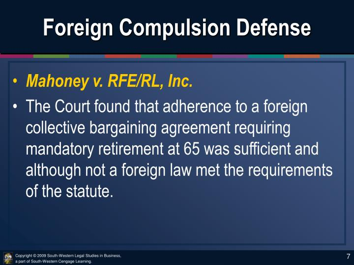 Foreign Compulsion Defense