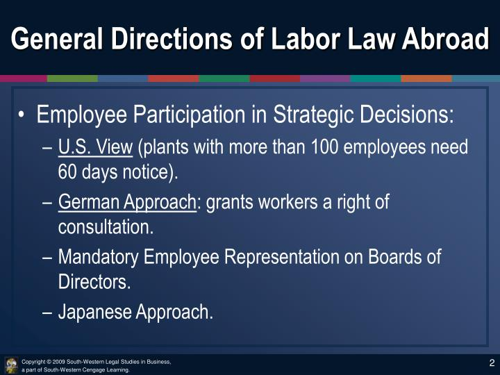 General directions of labor law abroad