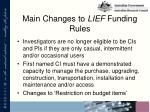 main changes to lief funding rules