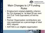 main changes to lp funding rules