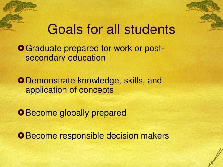 Goals for all students