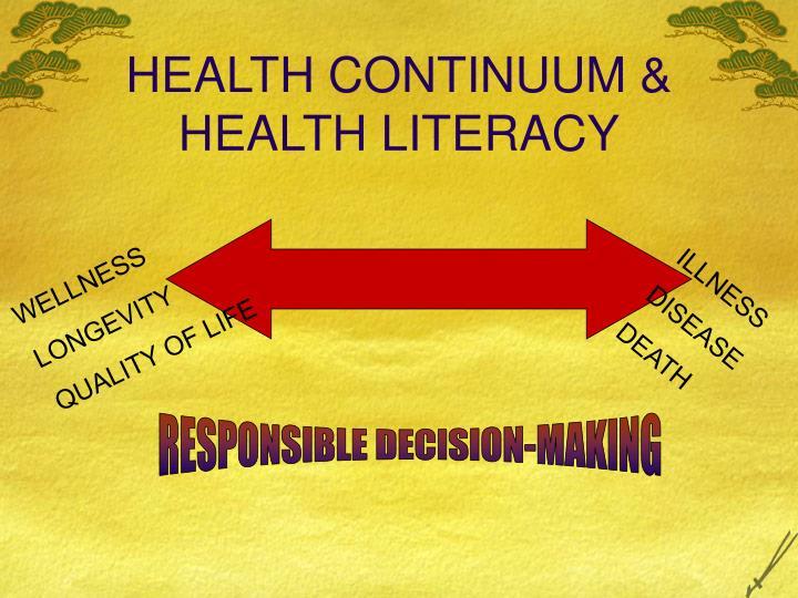 HEALTH CONTINUUM & HEALTH LITERACY
