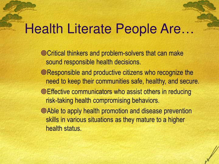 Health Literate People Are