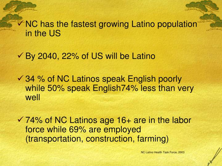 NC has the fastest growing Latino population in the US