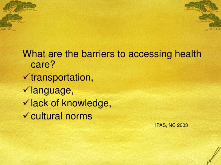 What are the barriers to accessing health care?