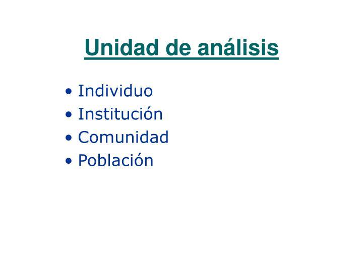 Unidad de análisis
