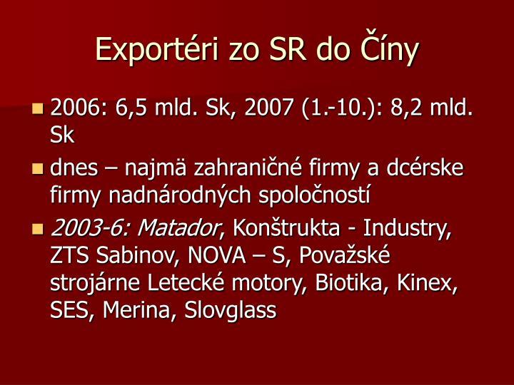 Exportéri zo SR do Číny