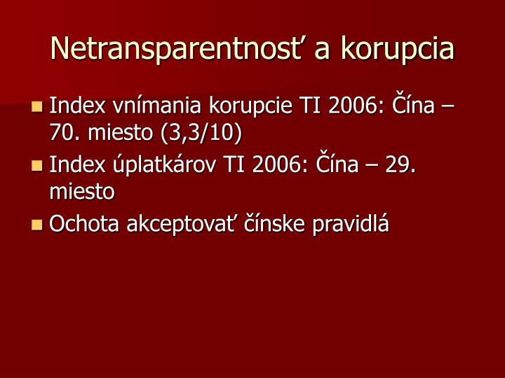 Netransparentnosť a korupcia