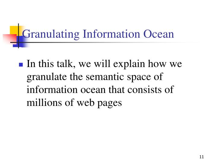 Granulating Information Ocean