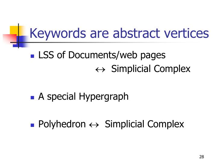 Keywords are abstract vertices