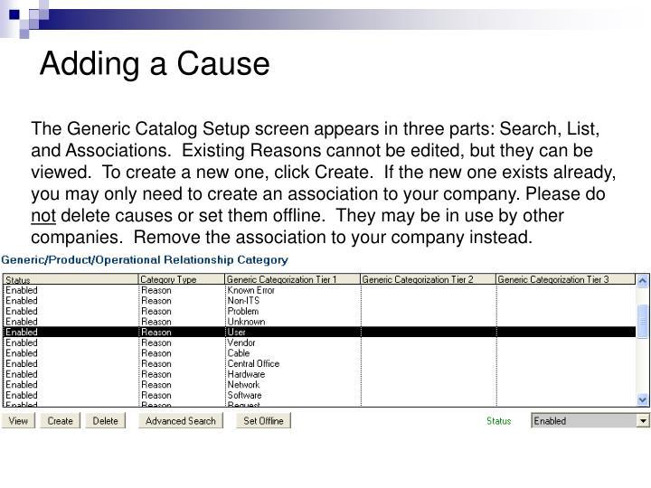 Adding a Cause