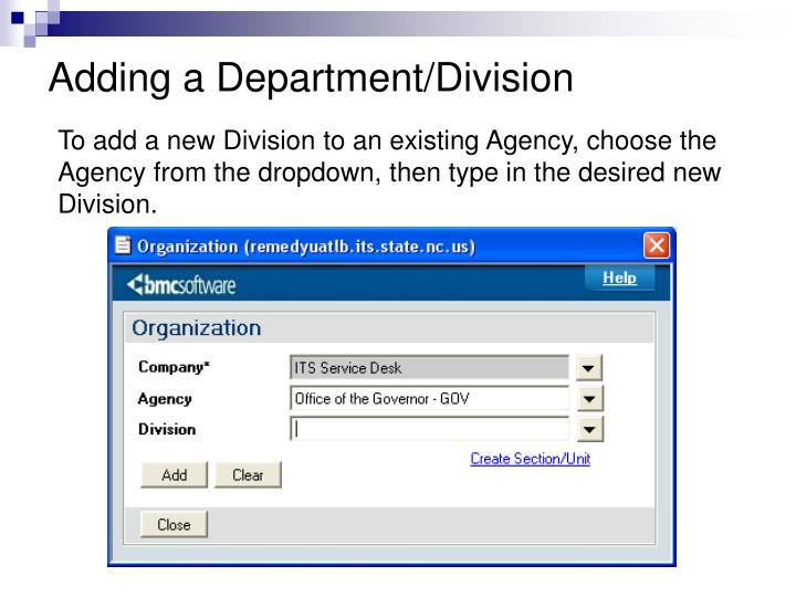 Adding a Department/Division