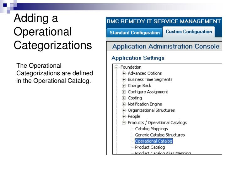 Adding a Operational Categorizations