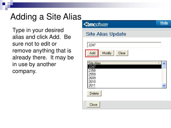 Adding a Site Alias