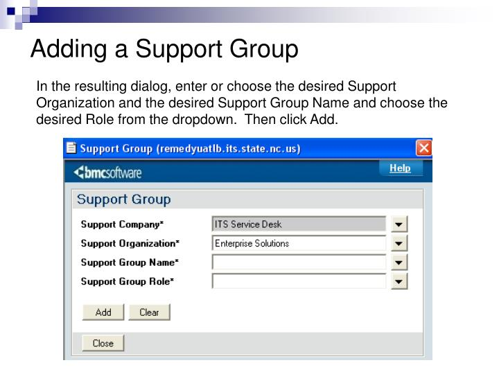 Adding a Support Group
