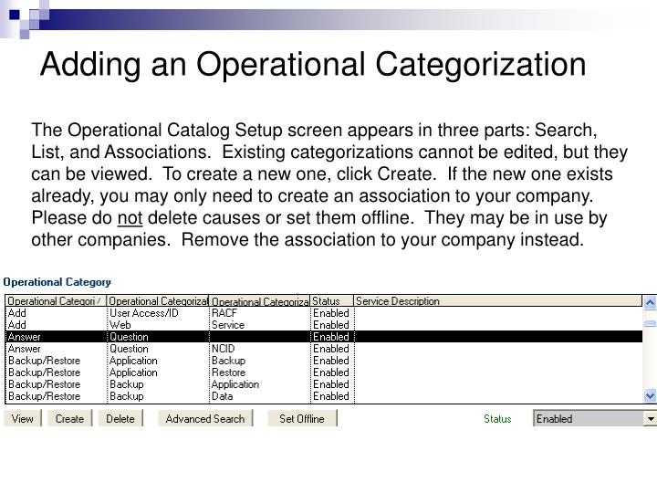 Adding an Operational Categorization