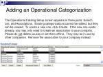adding an operational categorization1