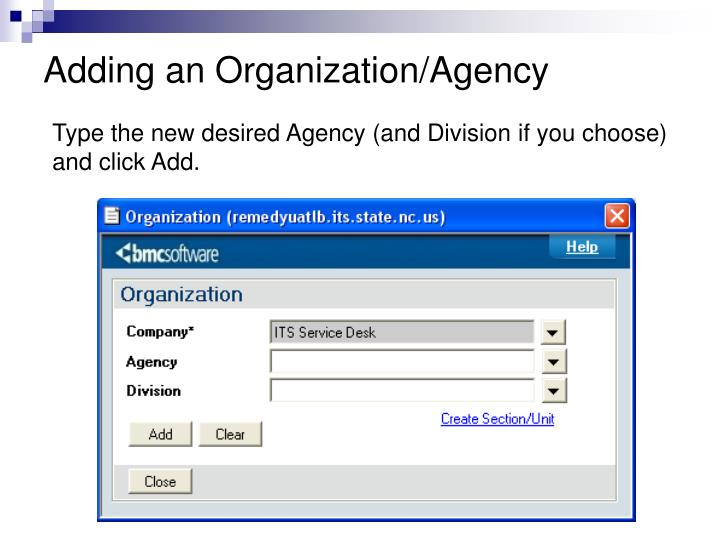 Adding an Organization/Agency