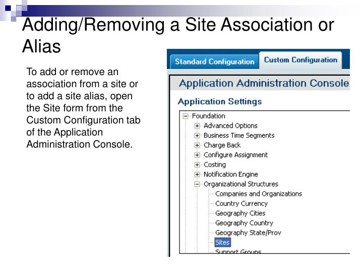 Adding/Removing a Site Association or Alias