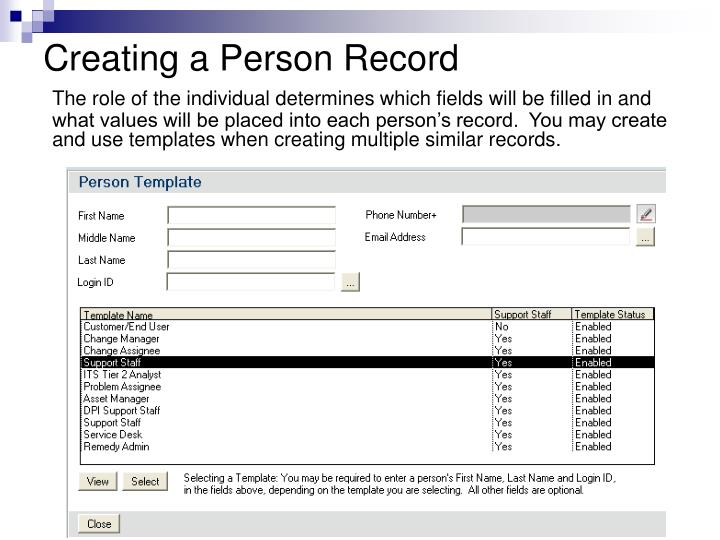 Creating a Person Record
