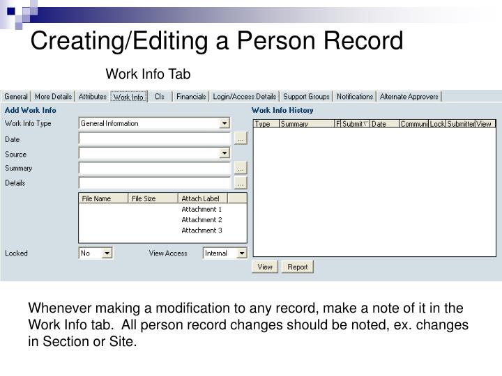 Creating/Editing a Person Record