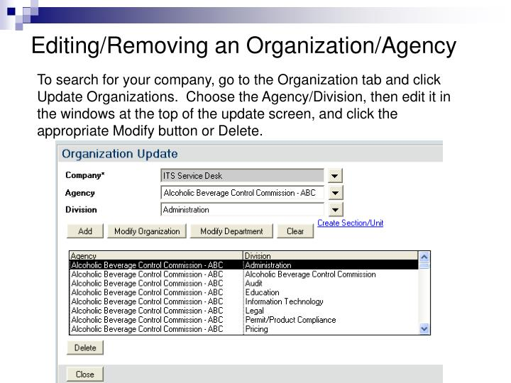 Editing/Removing an Organization/Agency