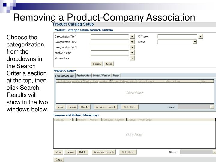 Removing a Product-Company Association