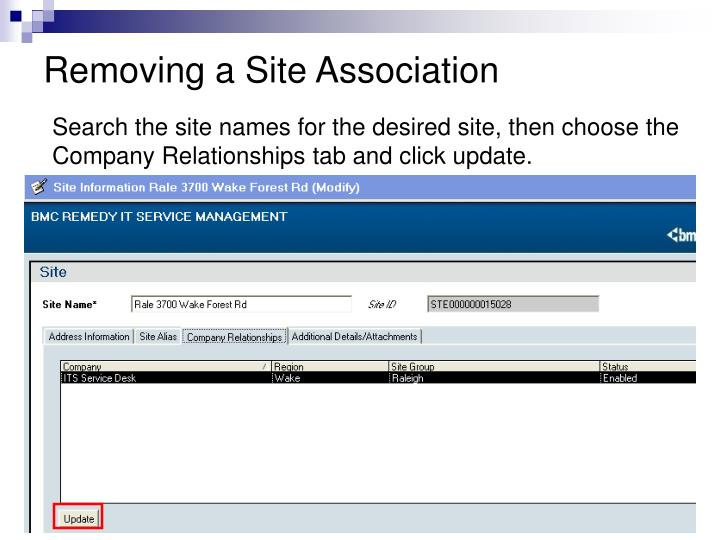 Removing a Site Association