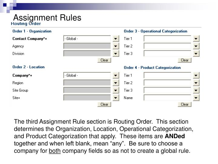 Assignment Rules