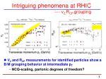 intriguing phenomena at rhic v 2 r cp grouping