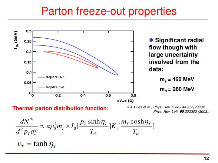 Parton freeze-out properties