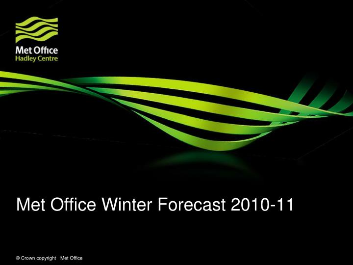 Met Office Winter Forecast 2010-11