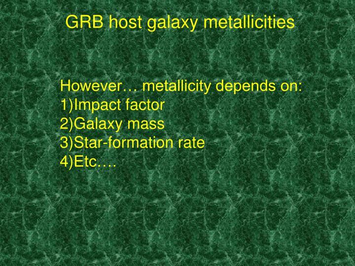 GRB host galaxy metallicities