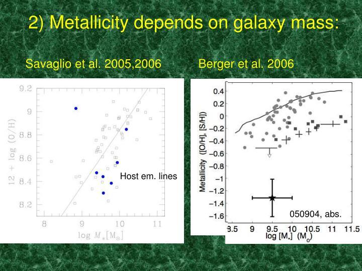 2) Metallicity depends on galaxy mass: