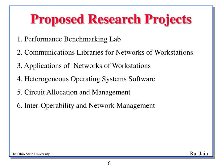 Proposed Research Projects