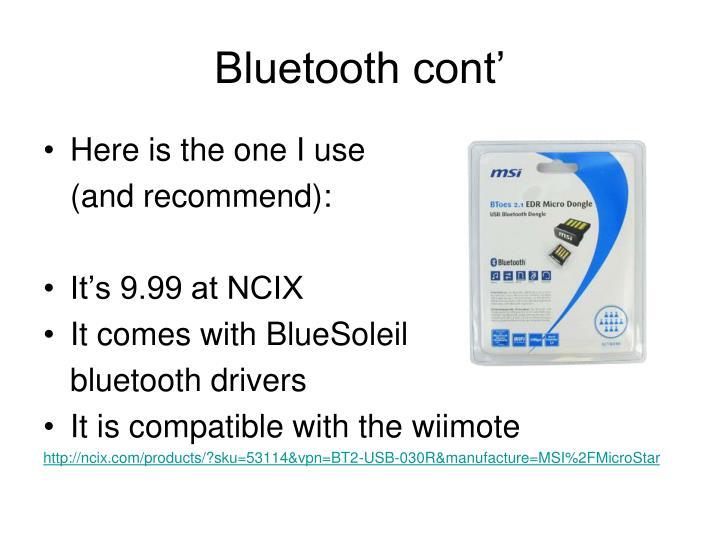 Bluetooth cont'