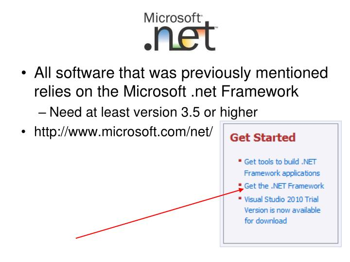 All software that was previously mentioned relies on the Microsoft .net Framework