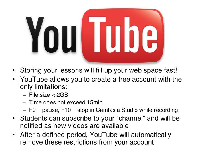 Storing your lessons will fill up your web space fast!