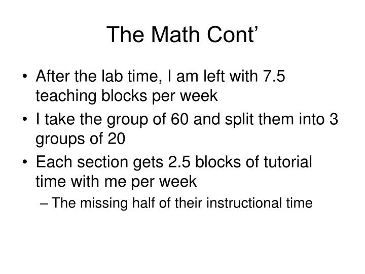 The Math Cont'
