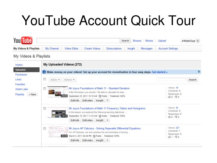 YouTube Account Quick Tour