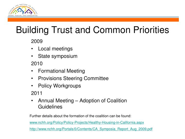 Building Trust and Common Priorities