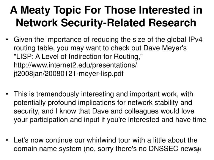 A Meaty Topic For Those Interested in Network Security-Related Research