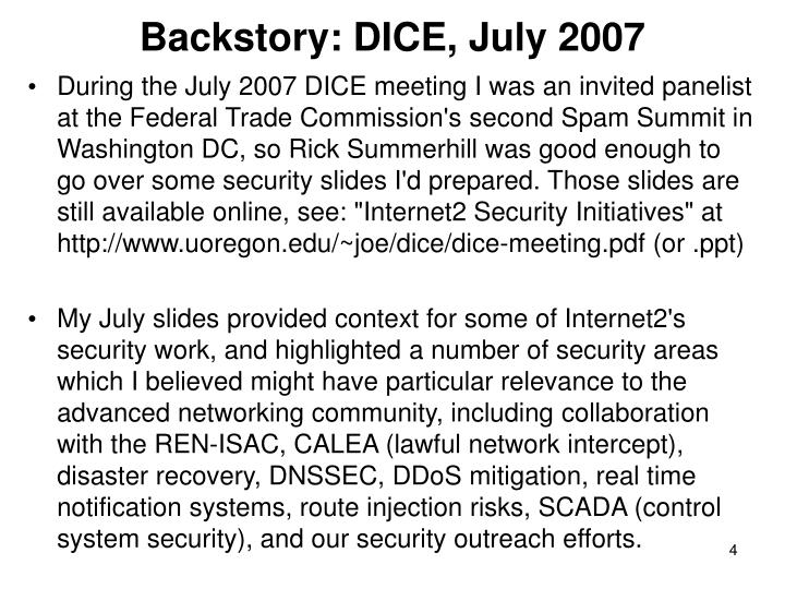 Backstory: DICE, July 2007