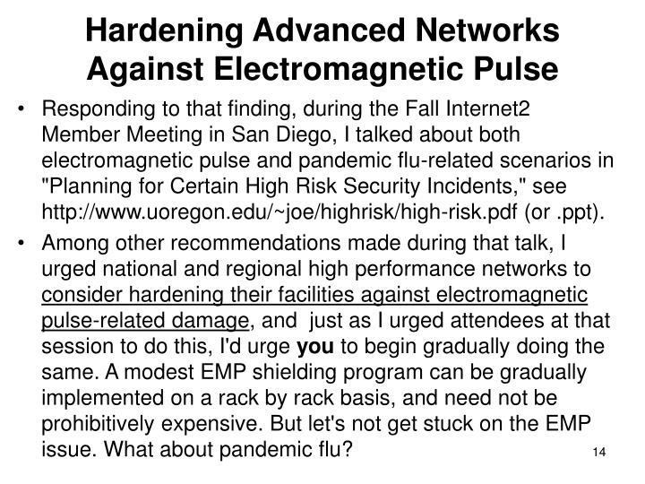 Hardening Advanced Networks Against Electromagnetic Pulse